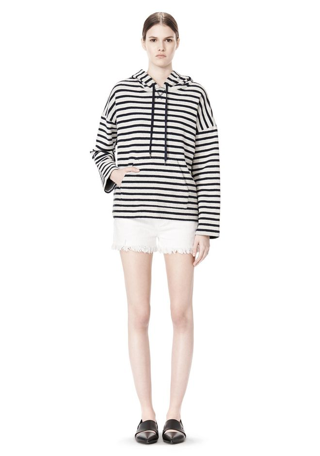 T by ALEXANDER WANG STRIPED FRENCH TERRY HOODED SWEATSHIRT TOP Adult 12_n_f