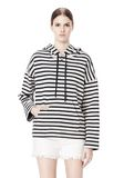 T by ALEXANDER WANG STRIPED FRENCH TERRY HOODED SWEATSHIRT TOP Adult 8_n_e