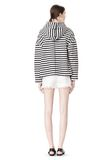 T by ALEXANDER WANG STRIPED FRENCH TERRY HOODED SWEATSHIRT TOP Adult 8_n_r