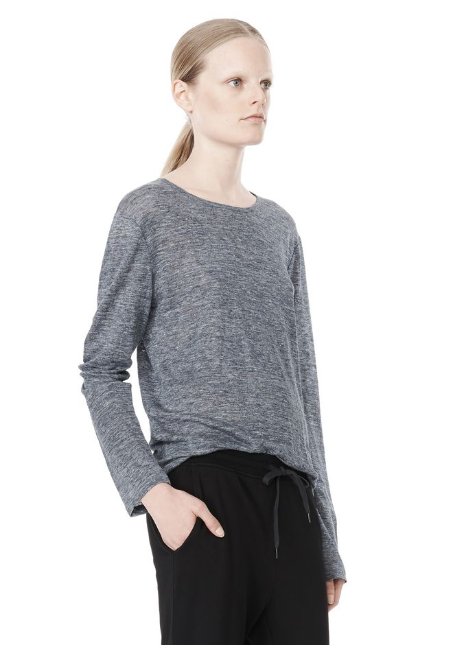 T by ALEXANDER WANG HEATHER LINEN LONG SLEEVE TEE TOP Adult 12_n_a