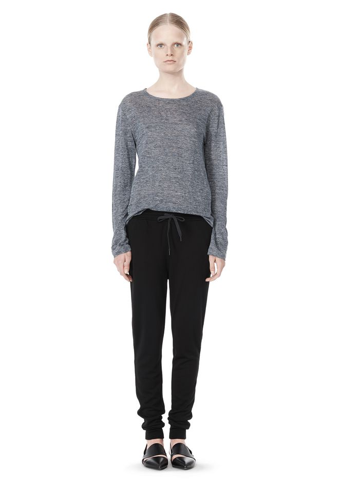 T by ALEXANDER WANG HEATHER LINEN LONG SLEEVE TEE TOP Adult 12_n_f