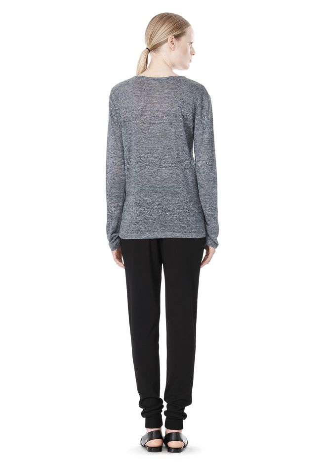 T by ALEXANDER WANG HEATHER LINEN LONG SLEEVE TEE TOP Adult 12_n_r
