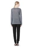 T by ALEXANDER WANG HEATHER LINEN LONG SLEEVE TEE TOP Adult 8_n_r