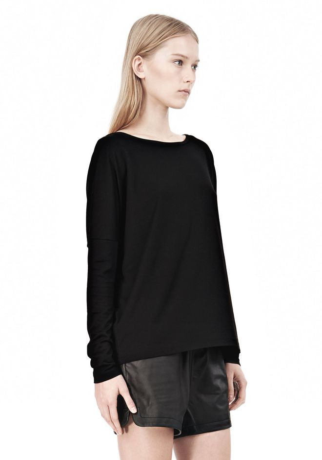 T by ALEXANDER WANG LUX PONTE DOLMAN CREWNECK LONG SLEEVE TEE Long sleeve t-shirt Adult 12_n_a