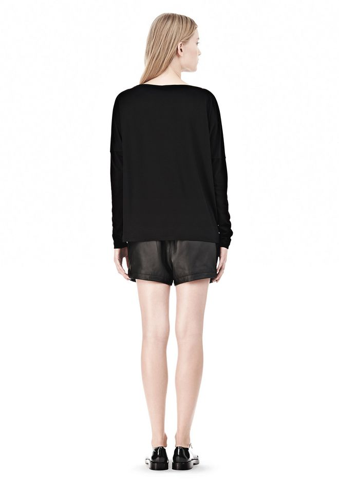 T by ALEXANDER WANG LUX PONTE DOLMAN CREWNECK LONG SLEEVE TEE Long sleeve t-shirt Adult 12_n_r