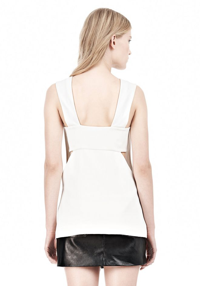 T by ALEXANDER WANG POLY CREPE LOW V-NECK TANK TOP WITH BANDEAU INSERT TOP Adult 12_n_d