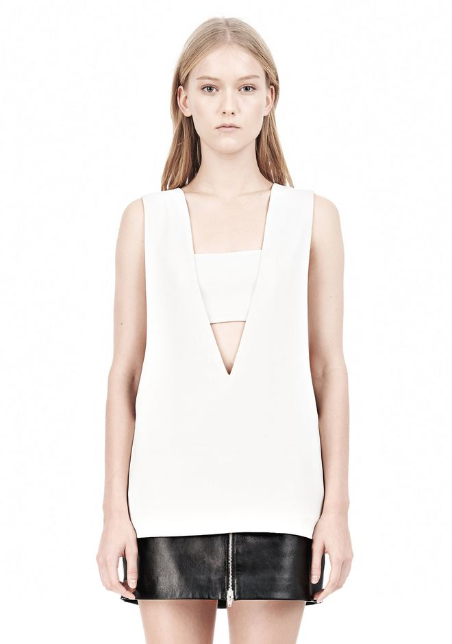 T by ALEXANDER WANG POLY CREPE LOW V-NECK TANK TOP WITH BANDEAU INSERT TOP Adult 12_n_e
