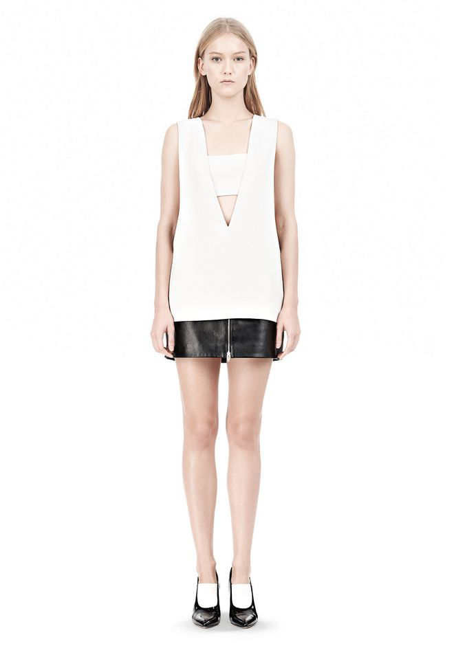 T by ALEXANDER WANG POLY CREPE LOW V-NECK TANK TOP WITH BANDEAU INSERT TOP Adult 12_n_f