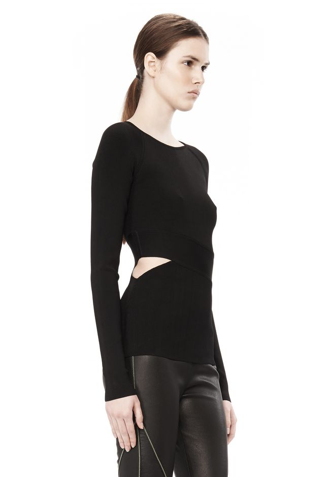 T by ALEXANDER WANG CRISS CROSS LONG SLEEVE TOP TOP Adult 12_n_a