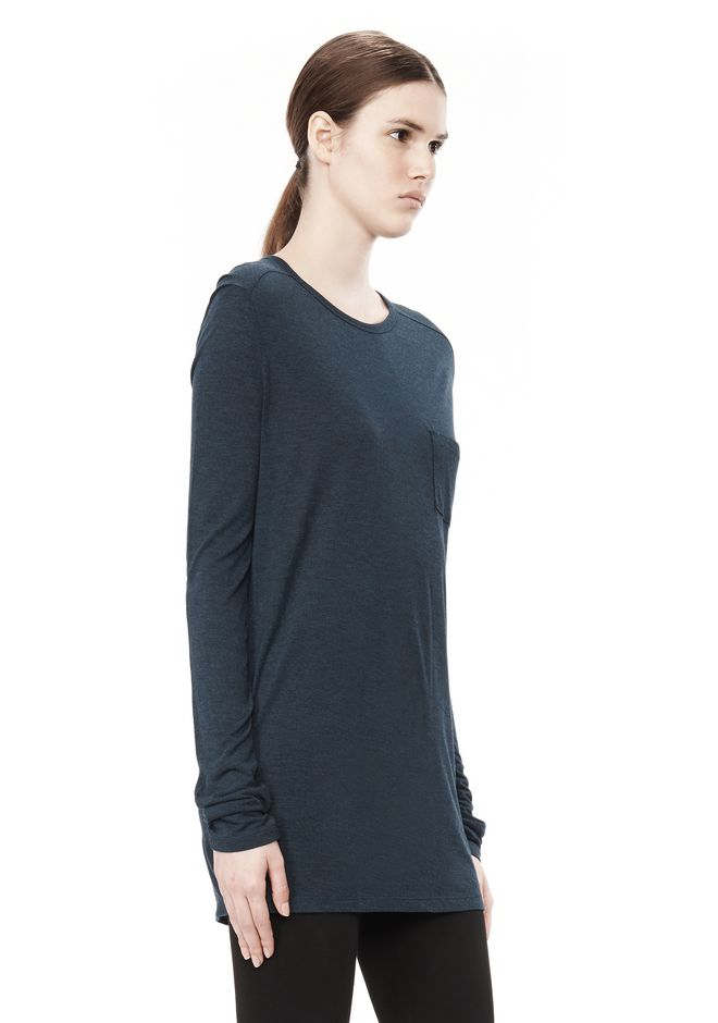 T by ALEXANDER WANG CLASSIC LONG SLEEVE TEE WITH POCKET TOP Adult 12_n_a