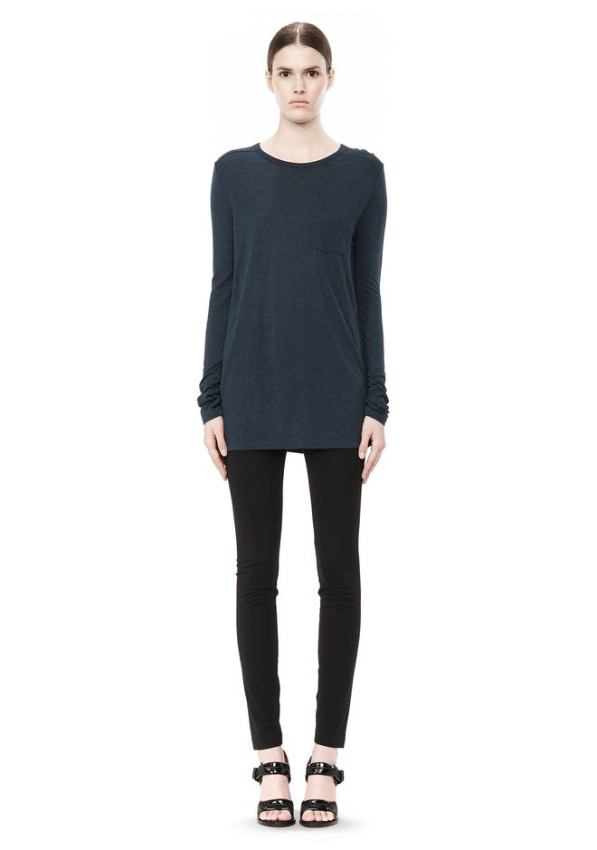 T by ALEXANDER WANG CLASSIC LONG SLEEVE TEE WITH POCKET TOP Adult 12_n_f