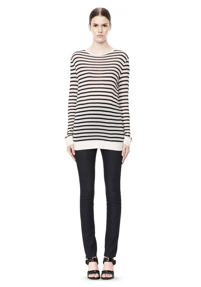 T by ALEXANDER WANG STRIPE RAYON LINEN LONG SLEEVE TEE TOP Adult 12_n_f