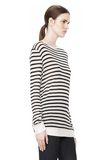 T by ALEXANDER WANG STRIPE RAYON LINEN LONG SLEEVE TEE TOP Adult 8_n_a