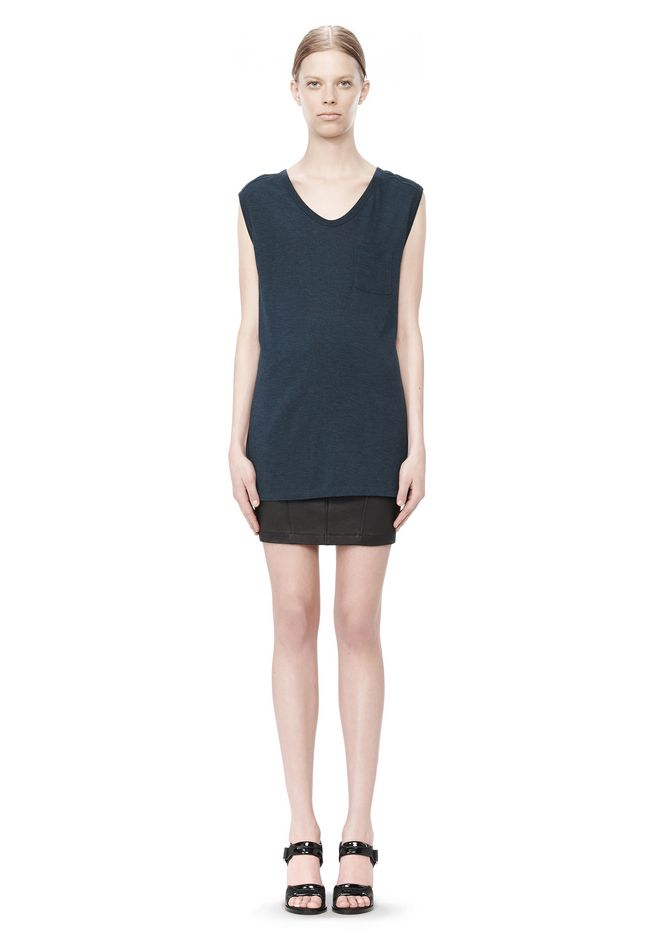 T by ALEXANDER WANG CLASSIC MUSCLE TEE WITH POCKET TOP Adult 12_n_f