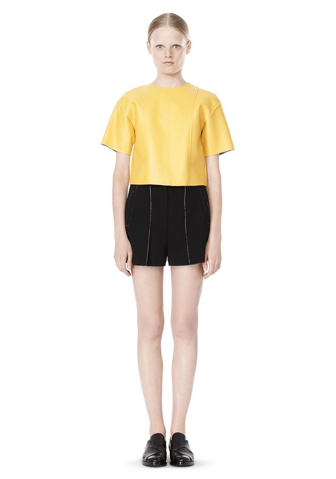 T by ALEXANDER WANG RAW EDGE SHORT SLEEVE CROPPED LEATHER TOP TOP Adult 12_n_f