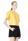 T by ALEXANDER WANG RAW EDGE SHORT SLEEVE CROPPED LEATHER TOP TOP Adult 8_n_a
