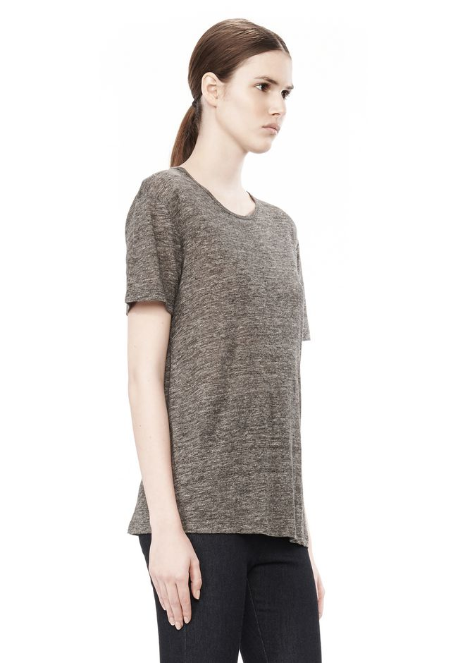 T by ALEXANDER WANG HEATHER LINEN SHORT SLEEVE CREW NECK TEE TOP Adult 12_n_a