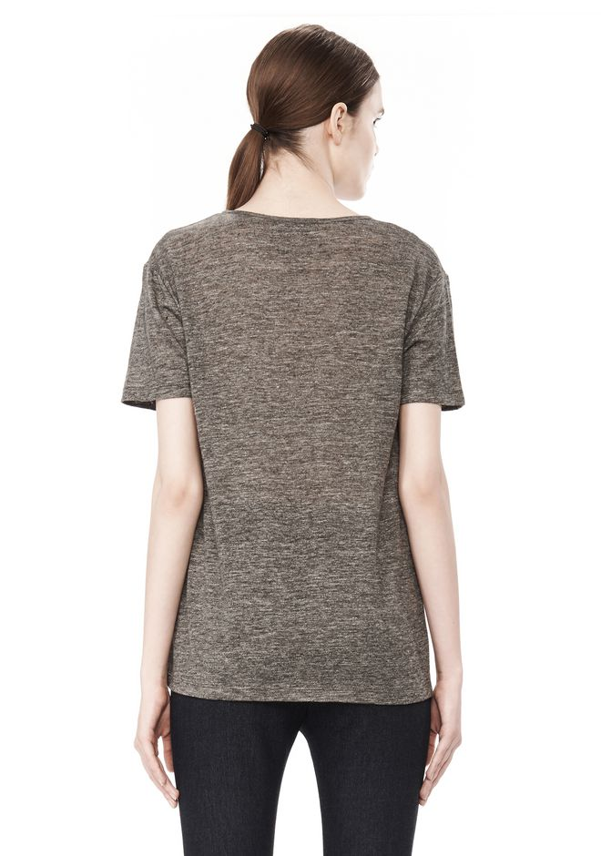 T by ALEXANDER WANG HEATHER LINEN SHORT SLEEVE CREW NECK TEE TOP Adult 12_n_d