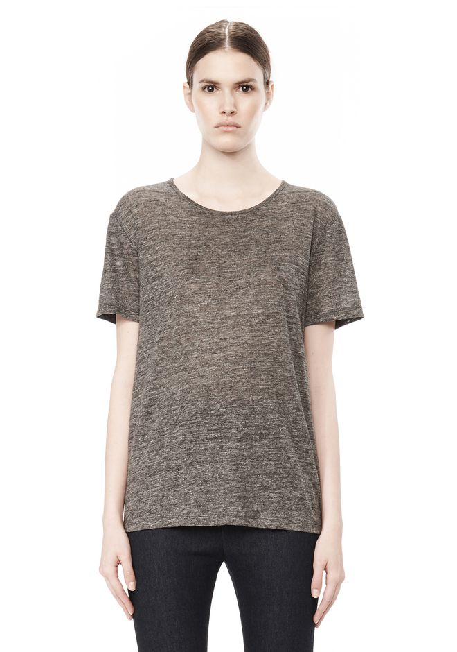 T by ALEXANDER WANG HEATHER LINEN SHORT SLEEVE CREW NECK TEE TOP Adult 12_n_e