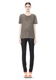 T by ALEXANDER WANG HEATHER LINEN SHORT SLEEVE CREW NECK TEE TOP Adult 8_n_f