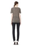 T by ALEXANDER WANG HEATHER LINEN SHORT SLEEVE CREW NECK TEE TOP Adult 8_n_r