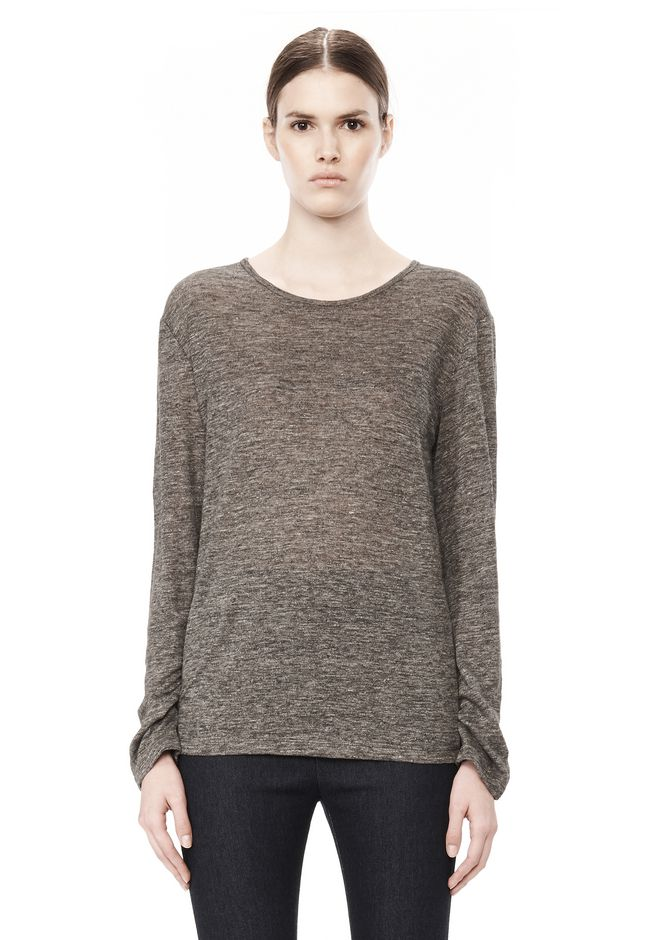 T by ALEXANDER WANG HEATHER LINEN LONG SLEEVE CREW NECK TEE TOP Adult 12_n_e