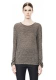 T by ALEXANDER WANG HEATHER LINEN LONG SLEEVE CREW NECK TEE TOP Adult 8_n_e