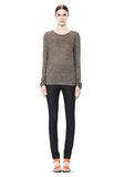 T by ALEXANDER WANG HEATHER LINEN LONG SLEEVE CREW NECK TEE TOP Adult 8_n_f