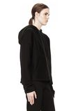 T by ALEXANDER WANG SCUBA DOUBLE KNIT HOODIE W ITH LEATHER TRIM TOP Adult 8_n_a