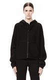 T by ALEXANDER WANG SCUBA DOUBLE KNIT HOODIE W ITH LEATHER TRIM TOP Adult 8_n_e