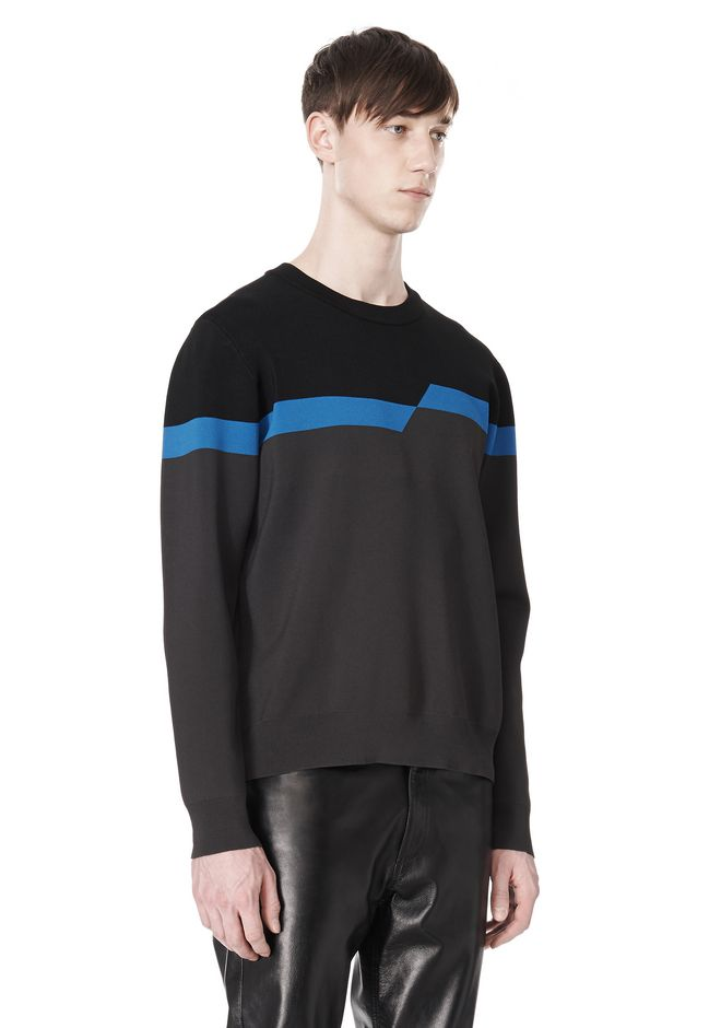 ALEXANDER WANG BROKEN STRIPE SWEATSHIRT TOP Adult 12_n_a