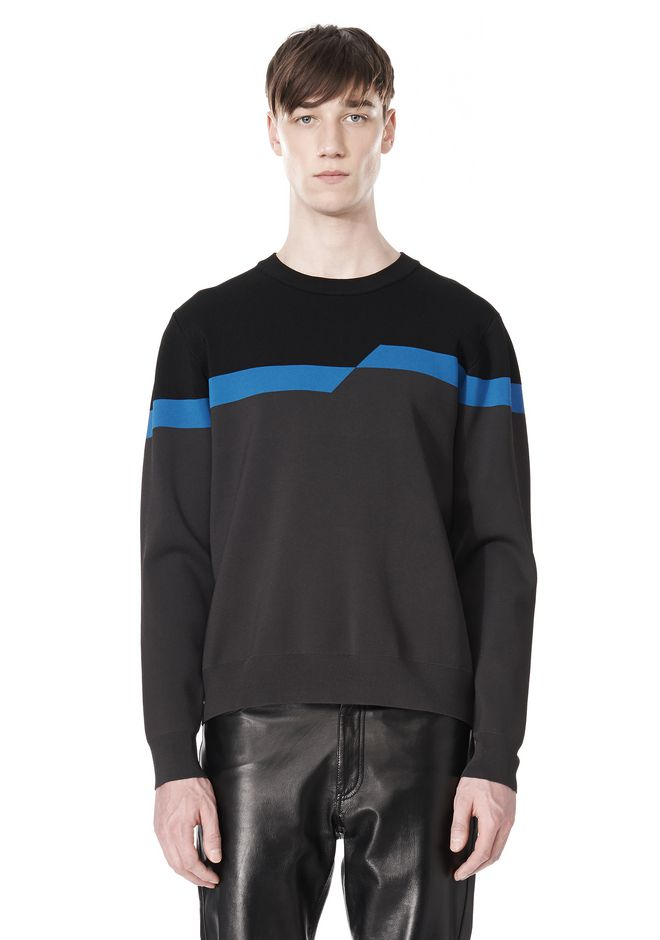 ALEXANDER WANG BROKEN STRIPE SWEATSHIRT TOP Adult 12_n_e