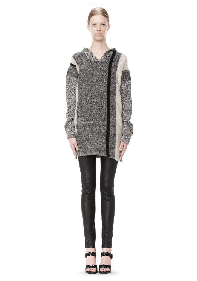 T by ALEXANDER WANG BOILED TWEED STRIPE BAJA HOODIE TOP Adult 12_n_f