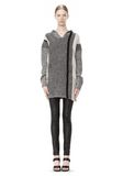 T by ALEXANDER WANG BOILED TWEED STRIPE BAJA HOODIE TOP Adult 8_n_f