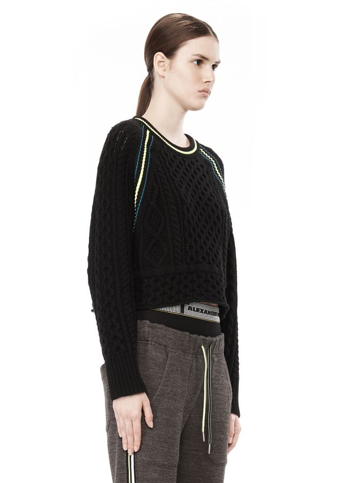 T by ALEXANDER WANG MERINO BLEND PULLOVER WITH RIB DETAIL TOP Adult 12_n_a