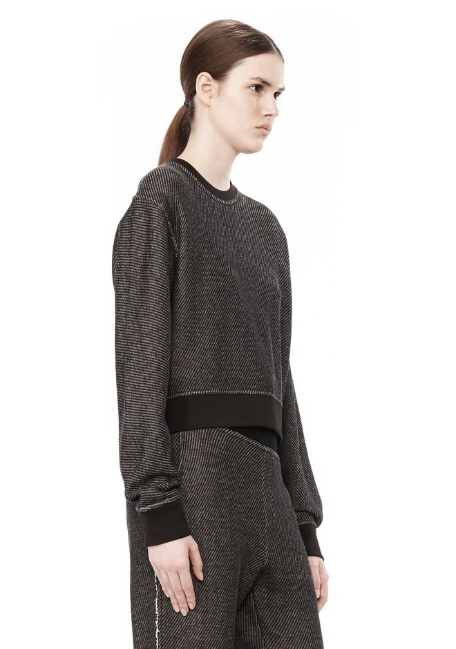 T by ALEXANDER WANG COTTON TWILL FRENCH TERRY CROPPED SWEATSHIRT TOP Adult 12_n_a