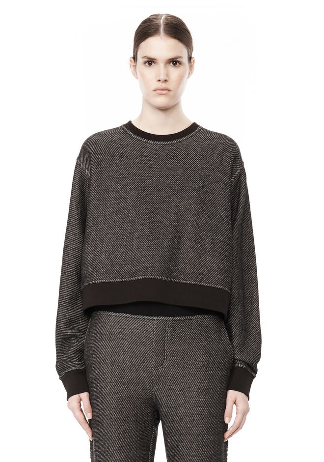 T by ALEXANDER WANG COTTON TWILL FRENCH TERRY CROPPED SWEATSHIRT TOP Adult 12_n_e