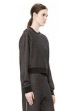 T by ALEXANDER WANG COTTON TWILL FRENCH TERRY CROPPED SWEATSHIRT TOP Adult 8_n_a