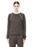 T by ALEXANDER WANG MELANGE FLEECE CREWNECK PULLOVER WITH RIB DETAIL TOP Adult 8_n_e