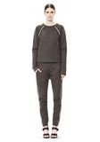 T by ALEXANDER WANG MELANGE FLEECE CREWNECK PULLOVER WITH RIB DETAIL TOP Adult 8_n_f