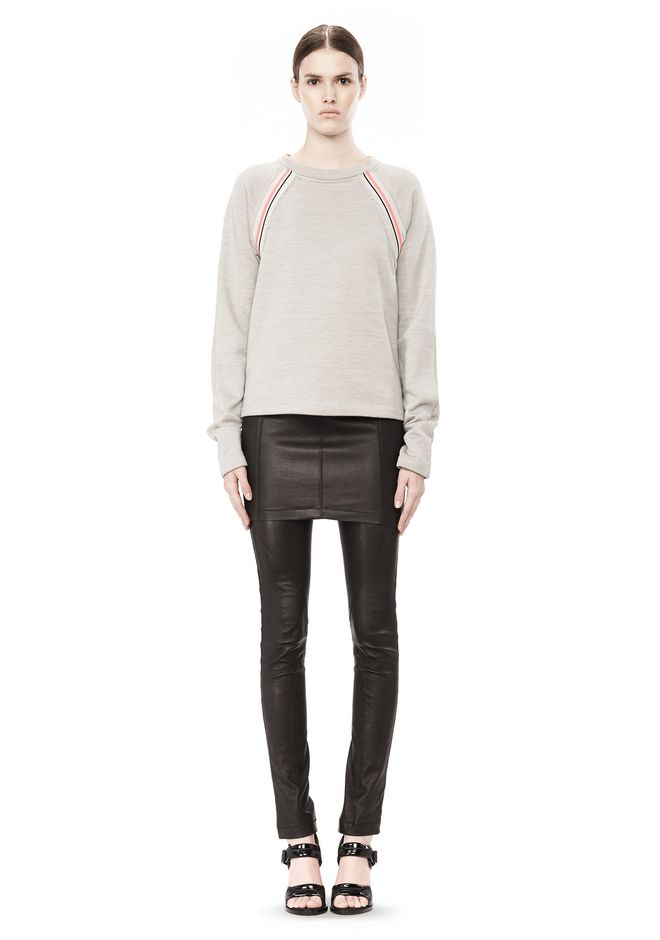 T by ALEXANDER WANG MELANGE FLEECE CREWNECK PULLOVER WITH RIB DETAIL TOP Adult 12_n_f