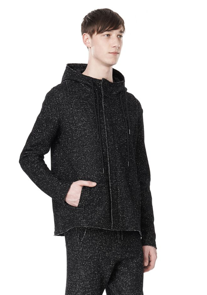 T by ALEXANDER WANG BOUCLE FLEECE HOODED JACKET TOP Adult 12_n_a