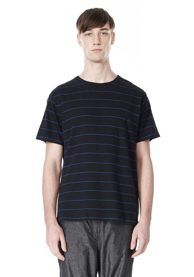 T by ALEXANDER WANG LINEN COTTON  STRIPE CREWNECK SHORT SLEEVE TEE Short sleeve t-shirt Adult 12_n_e