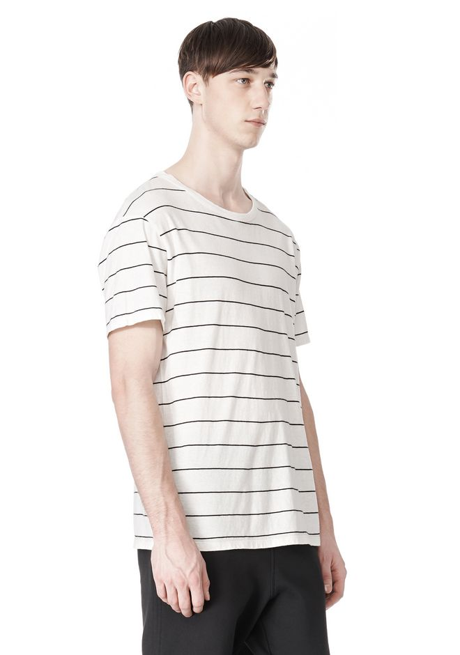 T by ALEXANDER WANG LINEN COTTON  STRIPE CREWNECK SHORT SLEEVE TEE Short sleeve t-shirt Adult 12_n_a