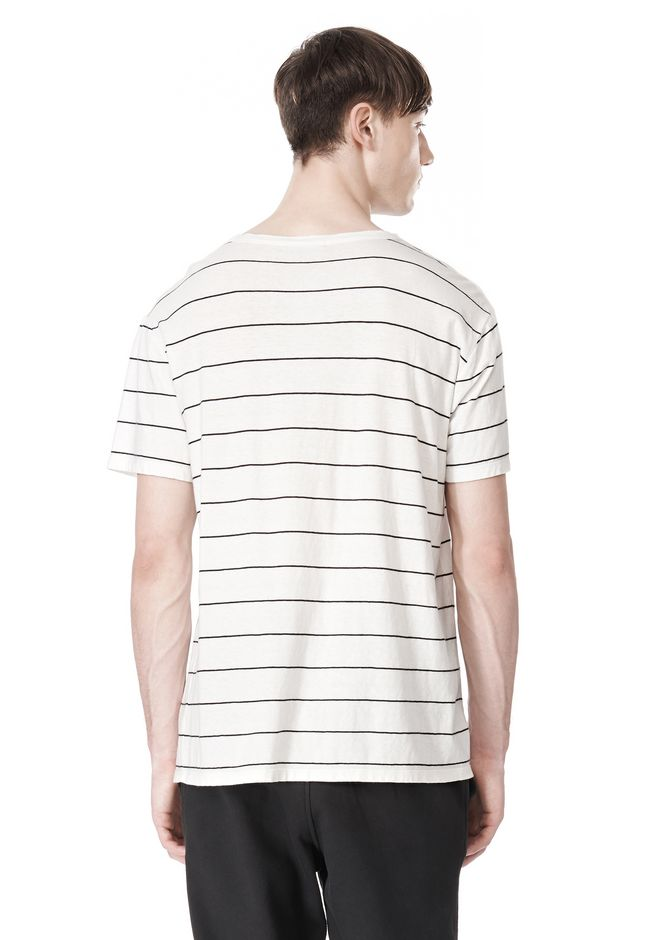 T by ALEXANDER WANG LINEN COTTON  STRIPE CREWNECK SHORT SLEEVE TEE Short sleeve t-shirt Adult 12_n_d