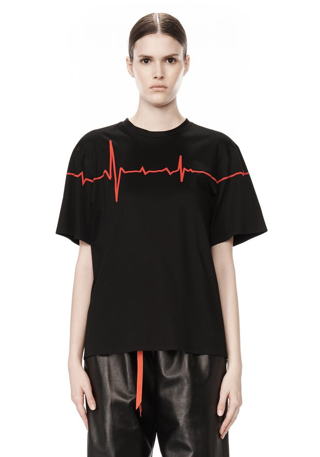 ALEXANDER WANG CREWNECK TEE WITH BONDED HEARTBEAT GRAPHIC Short sleeve t-shirt Adult 12_n_e