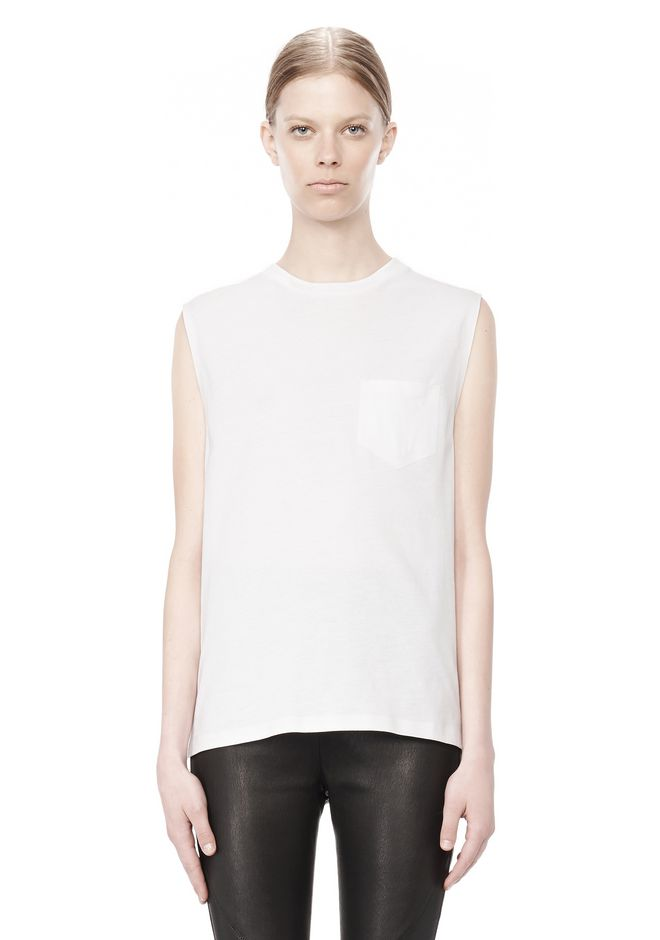 T by ALEXANDER WANG COTTON JERSEY WELDED MUSCLE TEE  TOP Adult 12_n_e