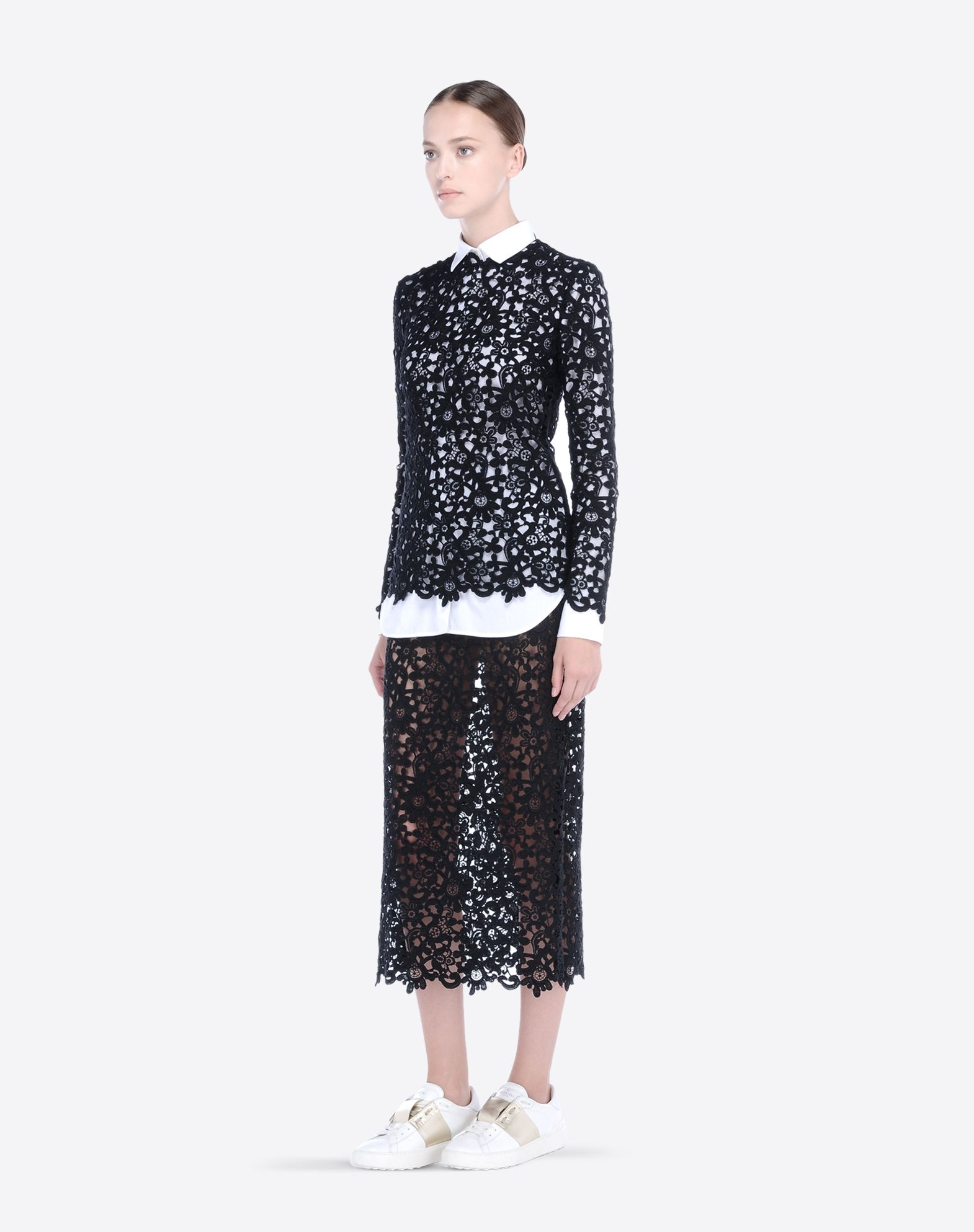 VALENTINO Lace Solid color Round collar Zip  37605960er
