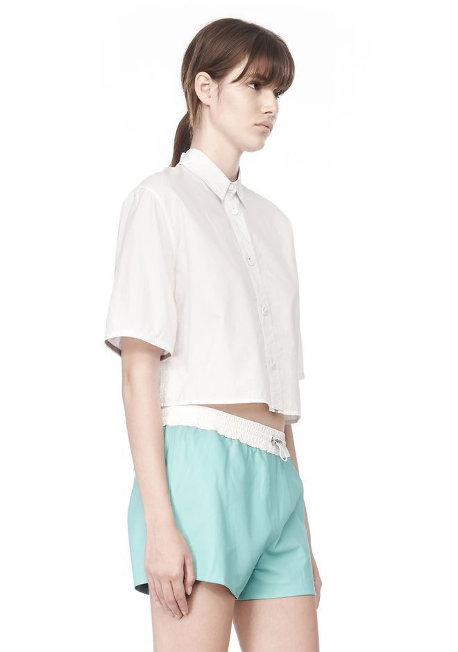 T by ALEXANDER WANG CROPPED SHORT SLEEVE POPLIN SHIRT TOP Adult 12_n_a