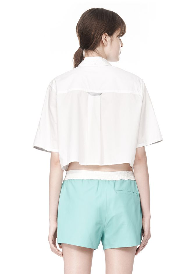 T by ALEXANDER WANG CROPPED SHORT SLEEVE POPLIN SHIRT TOP Adult 12_n_d